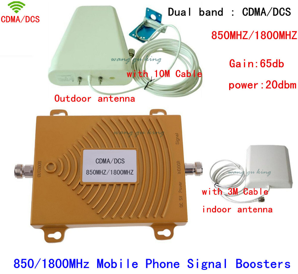 1 Set Booster !! 65dB Dual Band Wifi Repeater Gsm Cellular CDMA 850Mhz / DCS 1800Mhz 4G LTE Amplifier Cell Phone Signal Booster