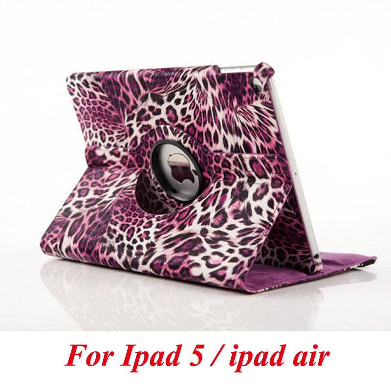 цена на For Apple ipad air case flip stand cover PU leather Leopard series rotate protective tablet cover coque funda capa