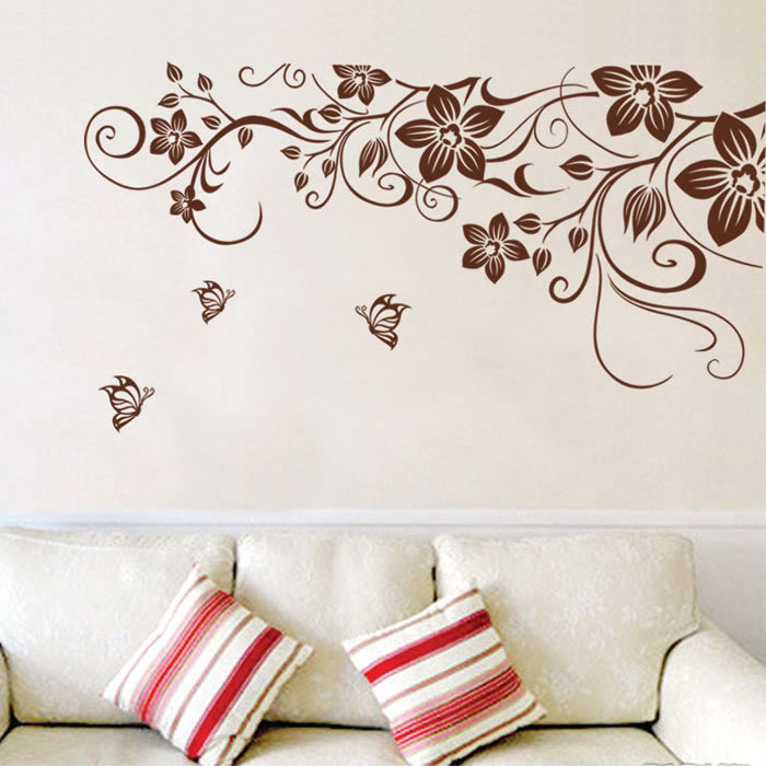 Fundecor diy brown butterfly flower vine wall stickers for Butterfly wall mural stickers