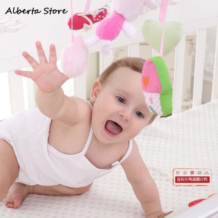 Chansons bébé Mobile berceau jouets belle lapin boîte à musique avec support bras musique nouveau-né rotation lit cloche en peluche jouet poussette hochet