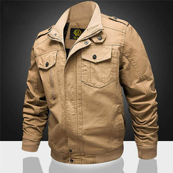 Army green air force pure cotton jacket men plus size stand collar coat for autumn winter