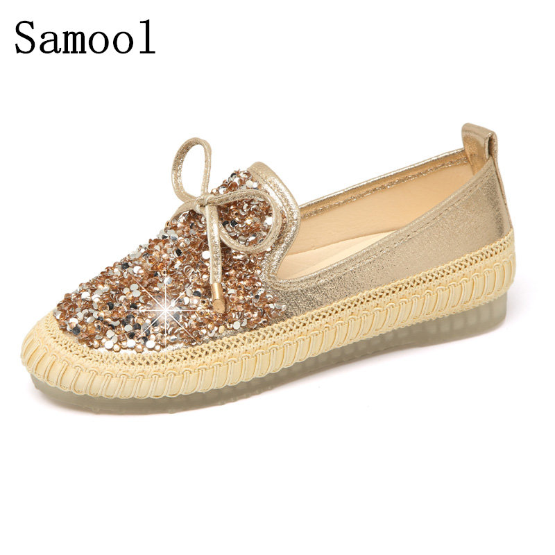 2017 Spring Autumn Women Crystal Ballet Flats Solid Gold Bling Cloth Pointed Toe Slip-On Flat Shoes Woman Loafers Shoes summer slip ons 45 46 9 women shoes for dancing pointed toe flats ballet ladies loafers soft sole low top gold silver black pink
