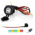 À prova d' água LED Azul 12-24 V Carro Motocicleta USB Carregador de tomada com 60 cm cabos de suporte do fusível da lâmina com 5 pcs fusível