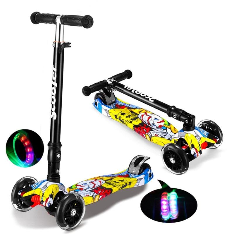 graffiti hyun train balance children mini sooter kick with 4 flashing pu wheel folding portable bicycle kids kick playing toy train ks432s pu материал no 4 футбол