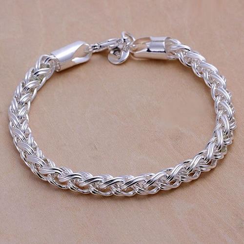 6b54b4d363ca Splendid moda plata sólida plateada cadena anudada pulsera brazalete bonito  regalo para novio 52L4
