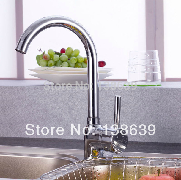 Free shipping 2014 new design Kitchen faucet Single handle Ceramic cartridge Chrome bathroom mixer tap wholesale