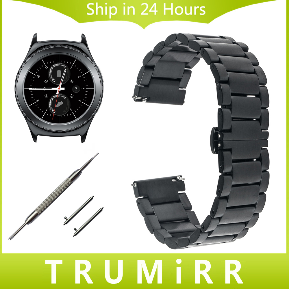 20mm Stainless Steel Watch Band for Samsung Gear S2 Classic R732 & R735 Moto 360 2 42mm Men Strap Butterfly Buckle Belt Bracelet ceramic stainless steel watch band 20mm for samsung gear s2 classic r732 r735 quick release strap butterfly buckle bracelet