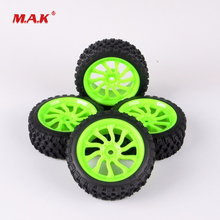 4Pcs 1/10 Rubber Rally Tires and Wheel Rim with 12mm Hex fit HSP HPI RC Off Road Racing Car Accessories 4x rc rally tires wheel rim pp0038 pp0487 for hsp rc 1 10 off road racing car rc accessories