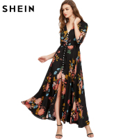 SheIn Boho Style Long Dress Deep V Neck Three Quarter Length Sleeve Smocked Waist Tassel Tie