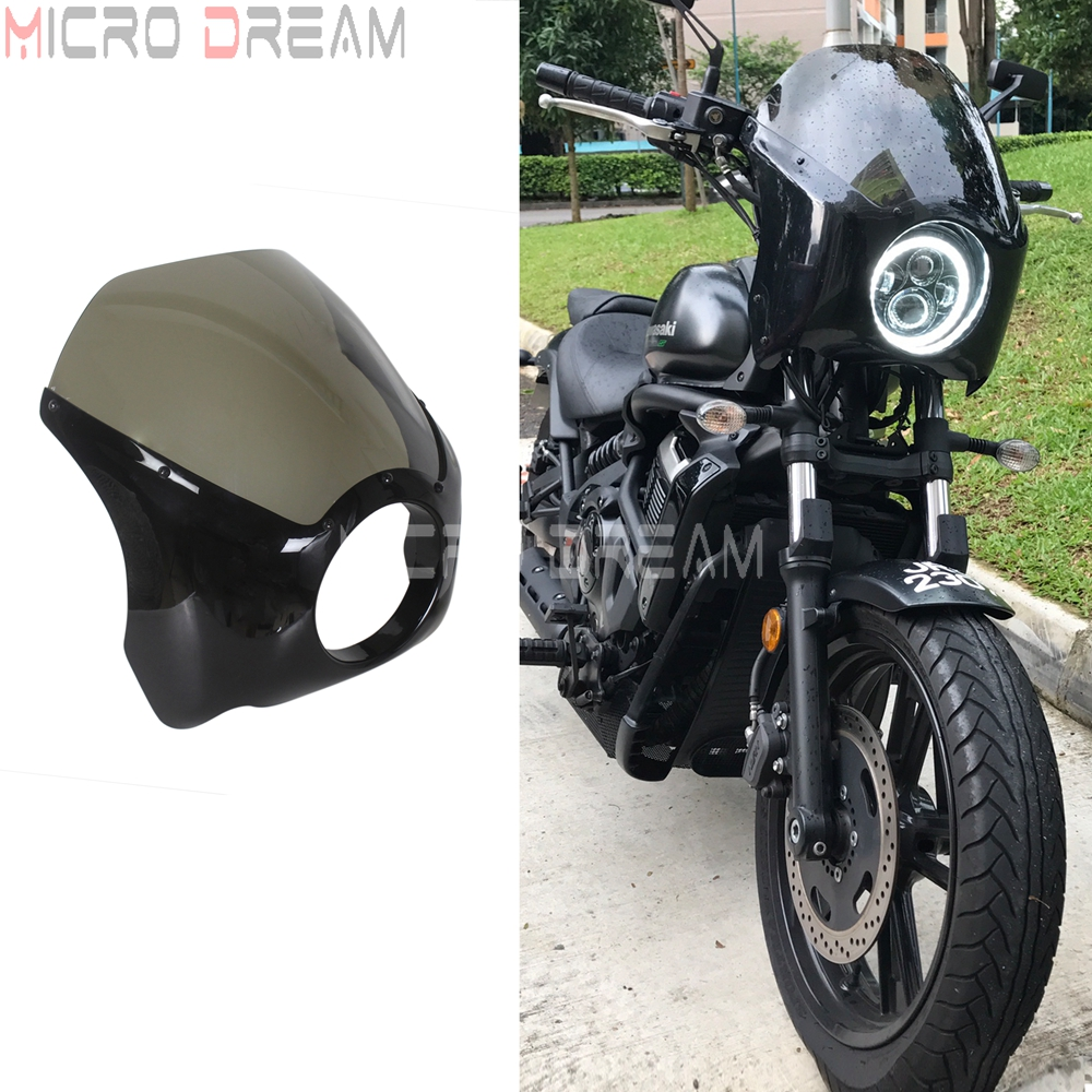 5.75 '' Motorcycle Headlight Fairing Cover ABS Smoke Windshield For Harley Softail Fat Boy Sportster Xl883 Xl1200 Dyna 1988-19