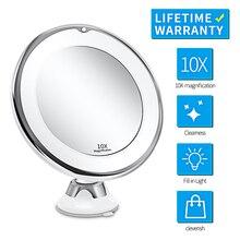 Портативный 10X увеличительное зеркало для макияжа свет с светодиодный свет Женщины Мужчины туалетный столик туалетное зеркало Ванная комната Спальня макияж лампа