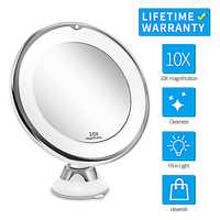 Portable 10X Magnifying Makeup Mirror Light with LED Light Women Man Dressing Table Vanity Mirror Bathroom Bedroom Make Up Lamp