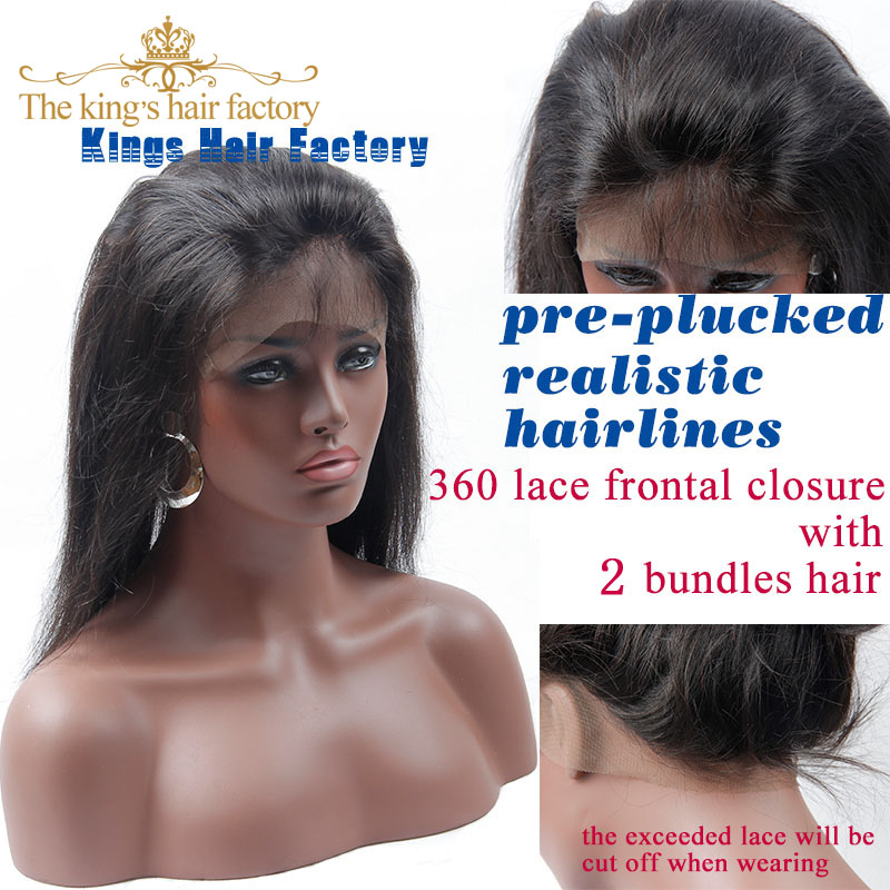 Pre Plucked 360 Lace Frontal With Bundle Brazilian Virgin Hair With Closure Straight Human Hair Brazilian Straight Hair Closure