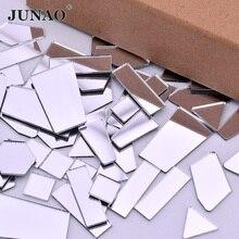 JUNAO, 20 шт., разные размеры, прозрачные зеркальные Акриловые стразы, аппликация, не Швейные, хрустальные зеркальные скрапбукинги, плоская задняя часть, Стразы для одежды