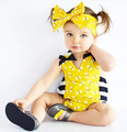 Newborn Baby Rompers Summer Style Baby Girls Clothes 2pcs Small bee romper+Headband Infant Jumpsuits Ropa Bebes Clothing Set