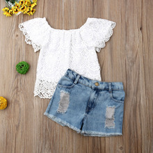 Toddler Kids Baby Girl Clothes Summer Lace Floral Top Denim