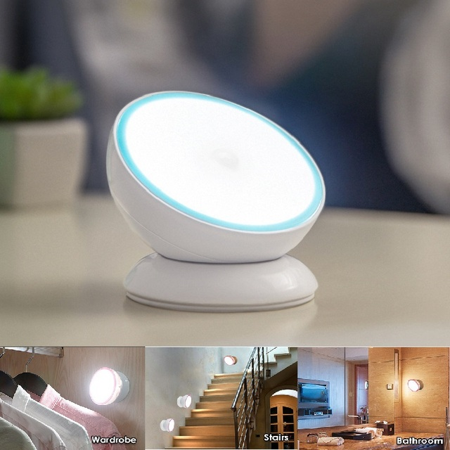 Motion Sensor Light 360 Degree Rotating LED Night Light Security Wall Lamp for Home Bedroom Stair Kitchen Hallway
