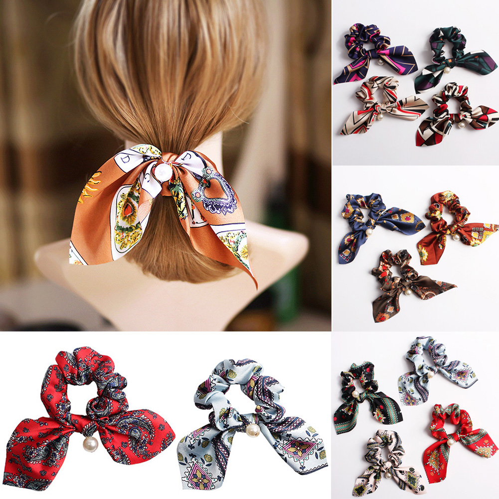 Printed Girls Bunny Ears Bow Scrunchie Elastic Hair Band Bow Hair Ropes Ladies Head Band Girls Hair Ties Hair Accessories