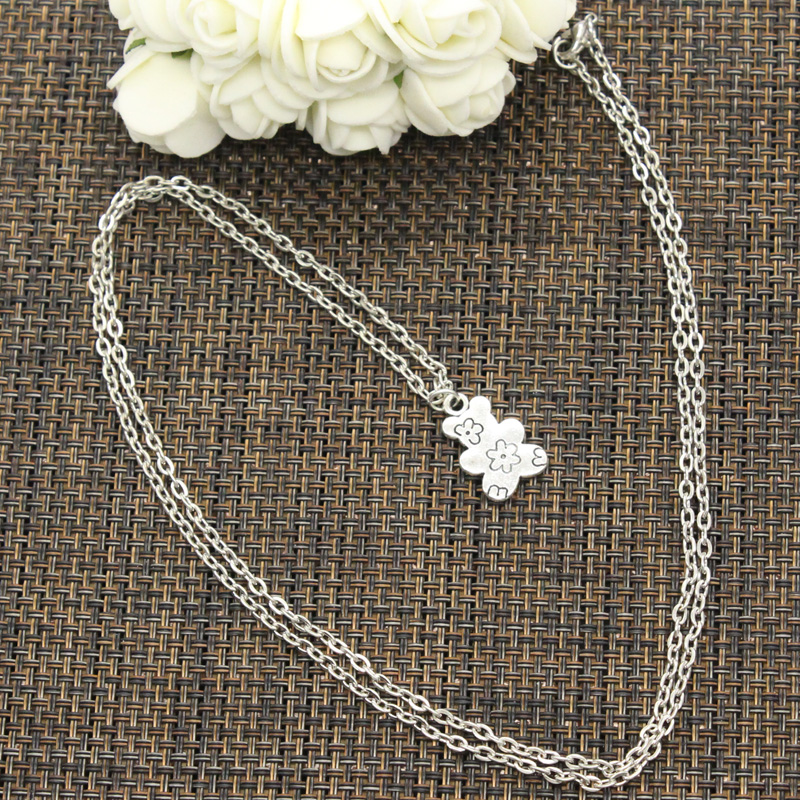 New Fashion Double Sided Flower Bear Pendants Round Cross Chain Short Long Mens Womens DIY Silver Color Necklace Jewelry Gift 2