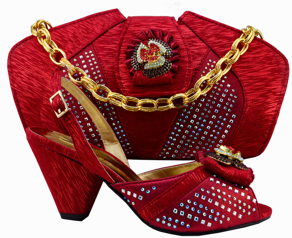 ФОТО Fashion design italian shoes and matching bags for wedding party,MM1004 red Nigeria style for African lady to match the shoes