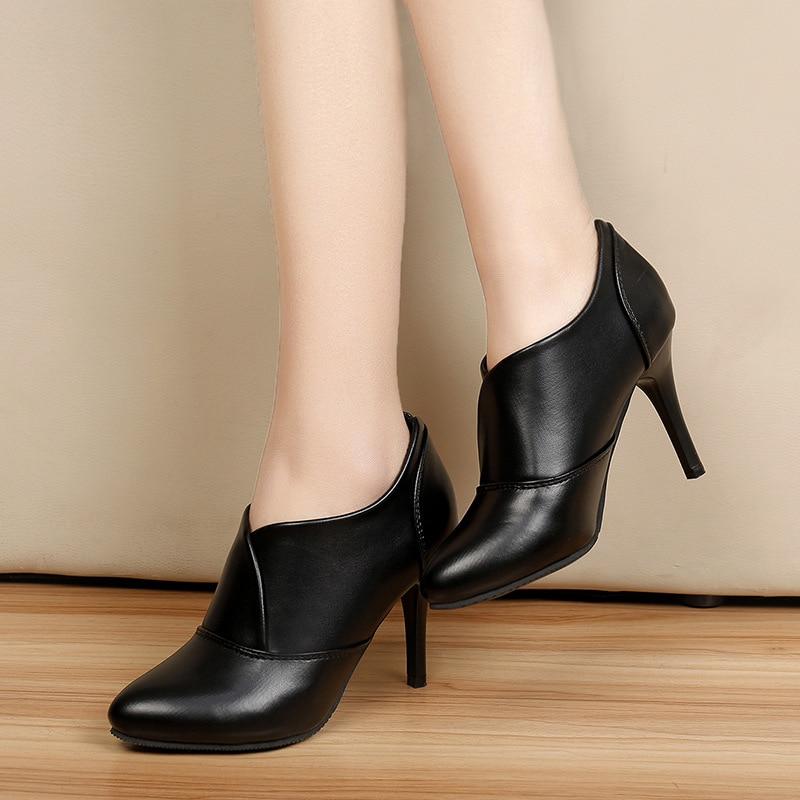 Pompes Hiver Sabots Chaussures Cuir Haute Femme 2 En Talons Couture qXPPvw8z
