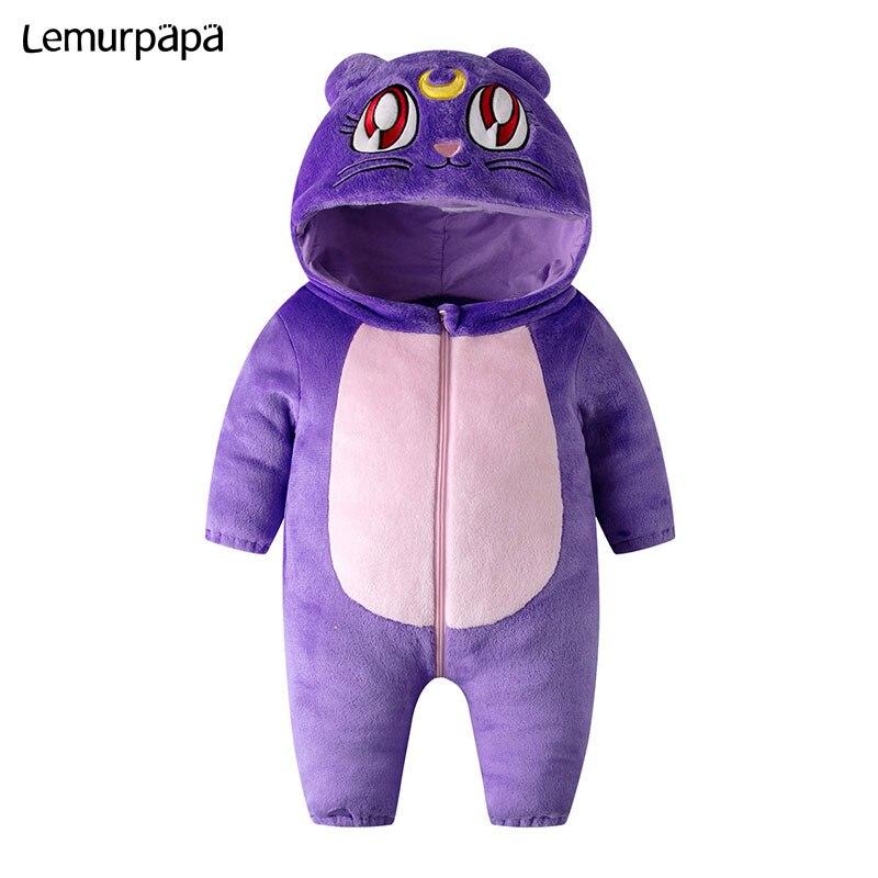 Image 4 - Purple Cat Onesie Infant Baby Romper Winter Clothes Ziper Hooded Flannel Cozy Kigurumis Animal Costume Little Boy Girl Play SuitRompers   -