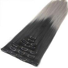 Soowee 24 inch 7 шт./компл. 16 Клипы Полный Голову Прямо Синтетические Шиньоны Жаропрочных Черный Серый Ombre Клип в Наращивание волос