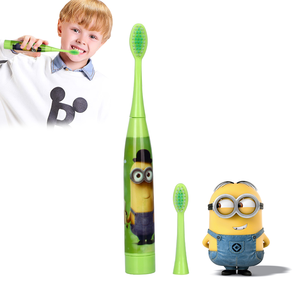 AZDENT Children Electric Toothbrush with 2 pcs Heads Battery Type Cartoon Pattern Teeth Brush Electric Tooth Brush For Kids ckeyin cartoon dolphin children music electric toothbrush led tooth brush 22000 min kids sonic toothbrush electric 3 brush heads