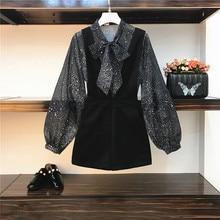 Новинка, Весенняя женская шифоновая блузка с принтом звезды и галстуком-бабочкой+ шорты на подтяжках, комплект из двух предметов, повседневные шорты, A633