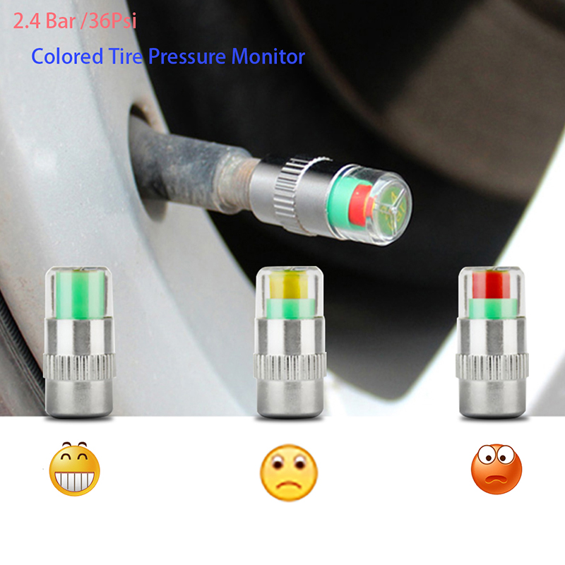 Vexverm 4PCS 2.4Bar 36PSI Car Auto Tire Pressure Monitor Valve Stem Caps Sensor Indicator Eye Alert Diagnostic Tools Kit 8