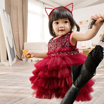Red Lace Wedding Gowns Kids Sequin Formal Party Christening Communion 1 Year Birthday Dresses Infant Pageant Dresses 2016wedding gowns kids formal party christening communion flower girl dresses infant pageant dresses for little girls 80 130cm