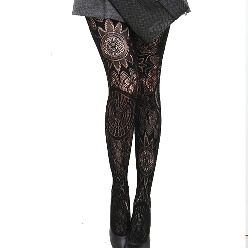 Pantyhose nylons lady Totem big flower candy color restoring ancient ways is the hook silk strong backing stockings tattoo sexy
