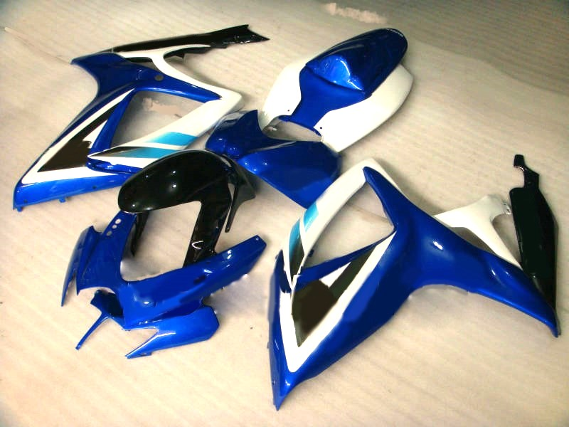Hey- Motorbike fairngs for suzuki <font><b>gsxr</b></font> <font><b>600</b></font> 750 2006 <font><b>2007</b></font> black blue white <font><b>fairing</b></font> <font><b>kit</b></font> gsxr750 06 07 image