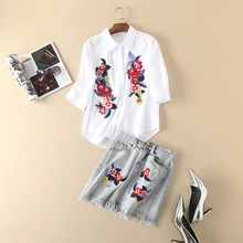 European and American Style flower embroidery shirt tassels jean skirt fashion woman's dresses suits S-L size