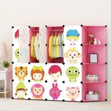 DIY Детский мультяшный пластиковый шкаф для одежды простые сборочные шкафчики для одежды Многослойные шкафы для хранения для детей