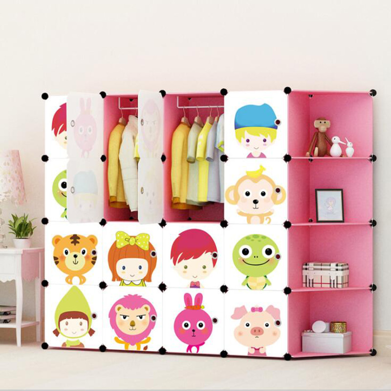 Bricolage enfants bande dessinée en plastique garde-robe placards Simple assemblage armoire casiers multi-couches armoires de rangement pour enfants enfants
