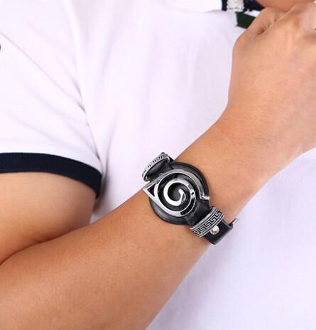 Naruto Leaf Konoha Logo Punk Leather Bracelets for Fans