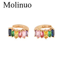 Molinuo rainbow cz hoop earring for lady fashion jewelry colorful square cubic zirconia simple luxury high quality earrings