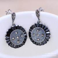 Jimei Jewelry Wholesale 925 Sterling Silver Jewelry Retro Black Disc Female Exquisite Earrings Jewelry Bag Mail