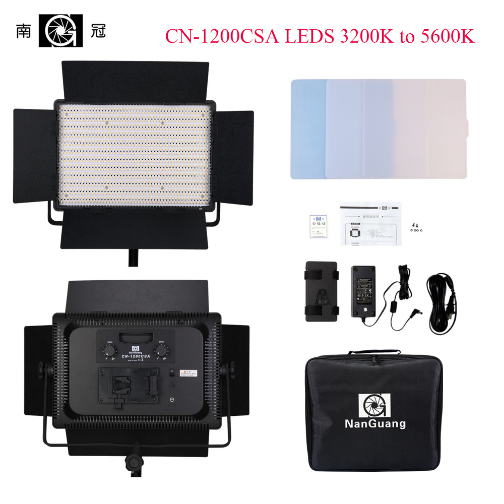 Nanguang CN-1200CSA LEDS 3200K to 5600K 7750 Lux LED Video Studio Light Panel for Camera Video,Bi-color High CRI RA95 LED Light