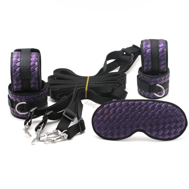 SMspade Bondage Restraints PU Kit: BLindfold, Handcuff, Ankle Cuff, Metal Belt, Adjustable Erotic Sex Product for Couple Game