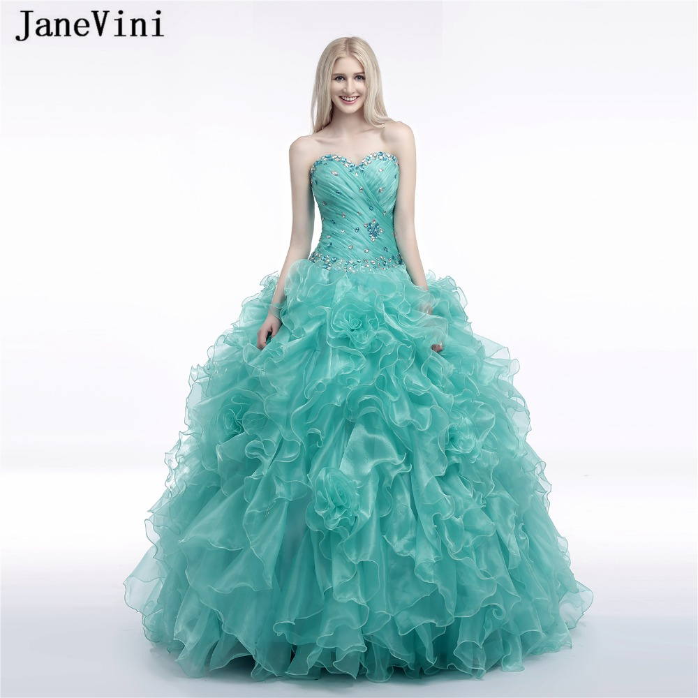 JaneVini 2018 Charming Ball Gown   Bridesmaid     Dresses   Sweetheart Crystal Floor Length Cascading Ruffles Organza Formal Prom Gowns