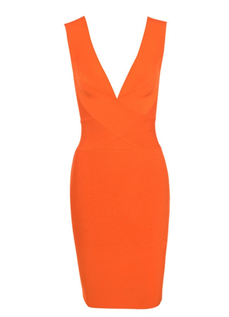 2018 New Arrival Sexy Bodycon Summer Cocktail Club Party Dresses For Women Fashion Nova Orange Plunge Christmas Bandage Dress