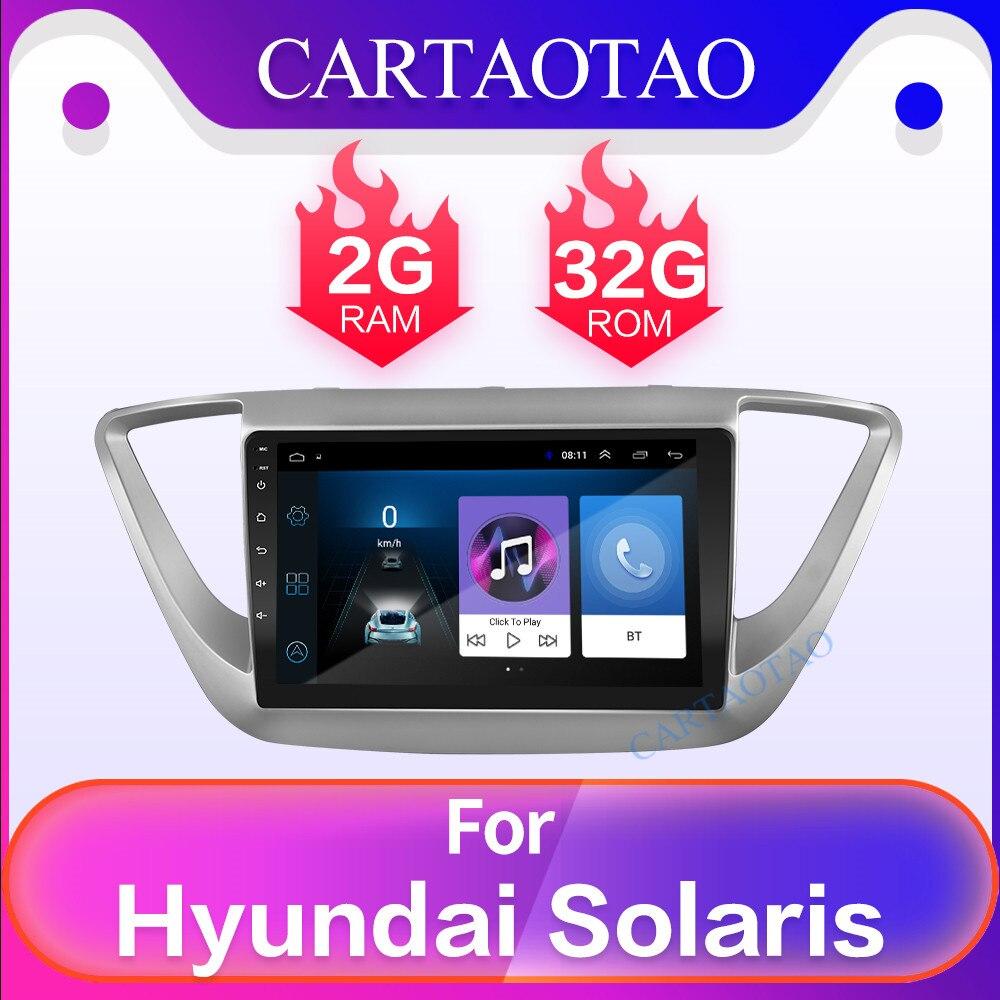 Voiture Taotao 9 Android navigation 2Din lecteur d'autoradio Support miroir liens voiture vidéo lecteur multimédia pour Hyundai Verna Solaris