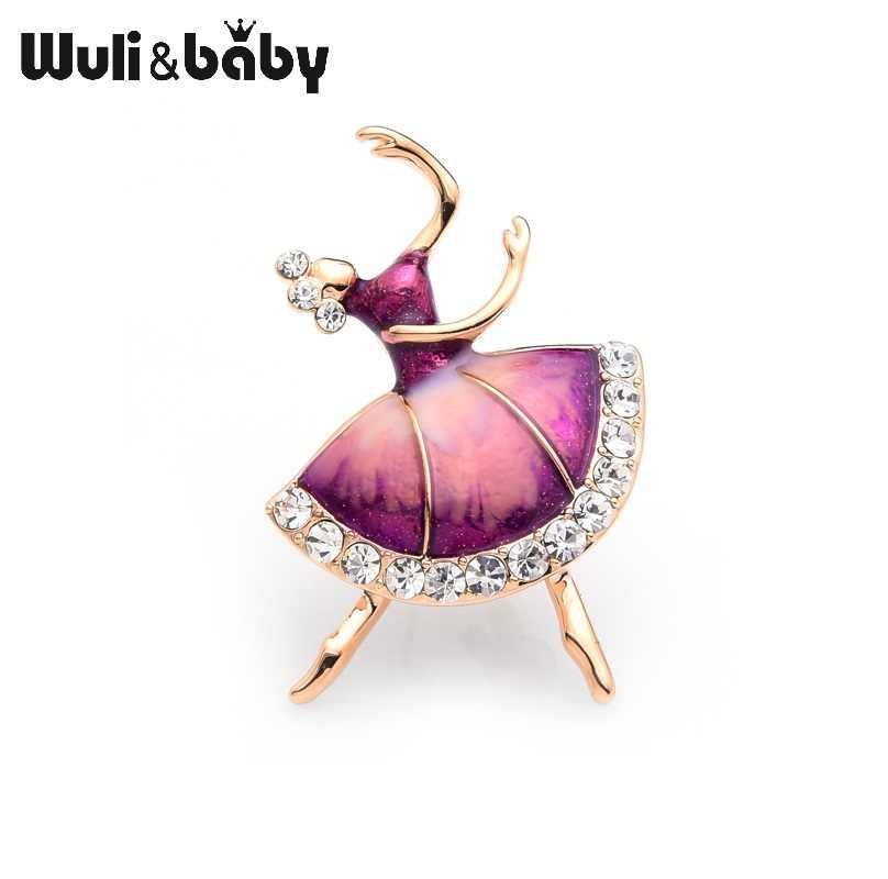 Wuli Bayi Biru Merah Muda Ballet Gadis Bros Wanita Ibu Berlian Imitasi Enamel Bros Pin Hadiah