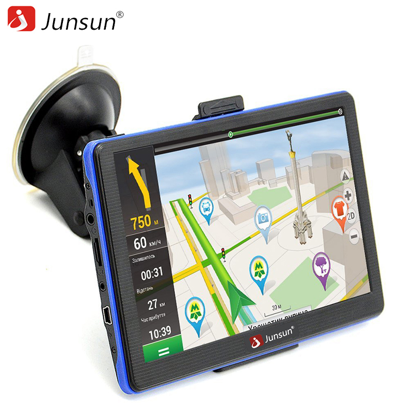 Junsun 7 inch Car GPS Navigation Touch Screen FM Bluetooth MP4 MP3 Truck gps navigator Sat nav Navitel/Russian Free map Registra 5 resistive screen win ce 6 0 car gps navigator w tf fm mic black 128gb multinational