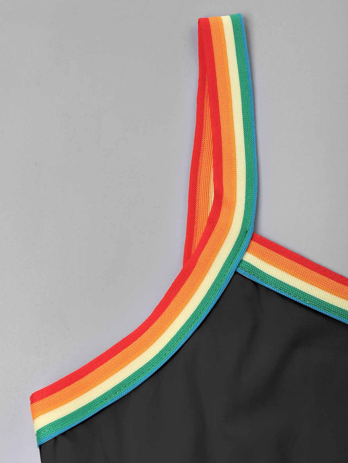 ZAFUL Радуга Отделка шнурок Cami комбинезон без рукавов Спагетти ремень женские этнические комбинезоны уличная спортивная одежда в стиле кэжуал 2019