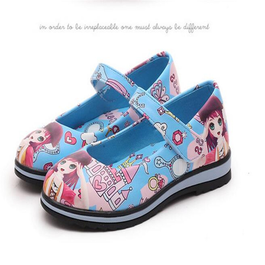Girls 3D Printing Leather shoes Korean Baby Girls Patent Leather shoes Loverly Cartoon Kids Princess Party shoes Eur size 26-36