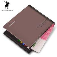 WILLIAMPOLO Men Wallets Black Brown Bifold Wallet Mens Brand Leather Card Holder Money Cash Wallet Purses Pockets