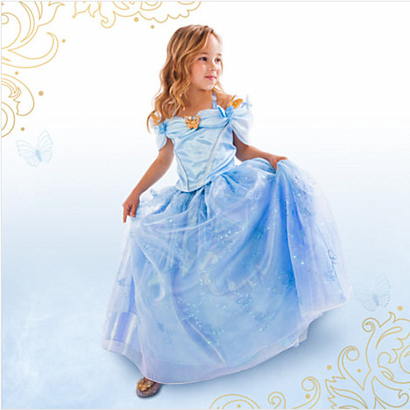 NEW Girls Dresses Cinderella Dress Movie Cosplay Girl Party Dress 2017 Brand Halloween Christmas Clothes Kids Dresses For Girls